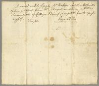 I would readily supply Mr. Robinson, but the difficulty...necessitates me to excuse myself. Aug. 21 [1780]. Ezra Stiles