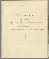 Memoir of the Rev. William Robinson Correction and Additions [1859]