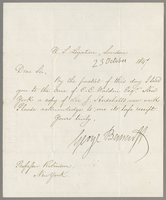 U.S. Legation. London, 23 October, 1847. dear sir, by the packet of this day I send you to the care of C.C. Walden Esqr.