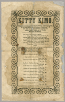 Kitty Kimo. Composed and arranged by Charles White, and sung nightly, by Old Dan Emmit, with thunders of applause.