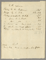 E.R. Expenses. Recd 1833, Jany 24, Cash in draft in N.Y. $200