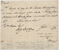 Order to pay, from Baron von Steuben, addressed to William Duer, February 28, 1787 [original]