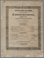 Hamilton College. Commencement, August 25, 1824. Order of exercises.