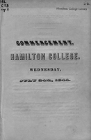 Commencement. Hamilton College. Wednesday, July 24th, 1844.