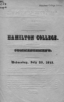 Hamilton College. Commencement. Wednesday, July 23, 1845.