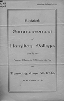 Eightieth commencement of Hamilton College, held in the Stone Church, Clinton, N. Y., on Thursday, June 30, 1892, at 10 o'clock A. M.