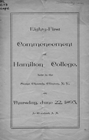 Eighty-first commencement of Hamilton College, held in the Stone Church, Clinton, N. Y., on Thursday, June 22, 1893, at 10 o'clock A. M.