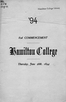 94. 82nd commencement. Hamilton College. Thursday, June 28th, 1894