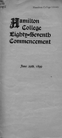 Hamilton College eighty-seventh commencement, June 29th, 1899