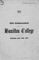 95. 83rd commencement. Hamilton College. Thursday, June 27th, 1895