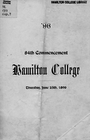 96. 84th commencement. Hamilton College. Thursday, June 25th, 1896