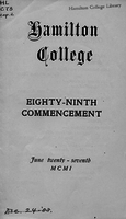 Hamilton College, eighty-ninth commencement, June twenty-seventh MCMI