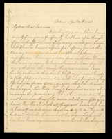 Letter from Susan M. Hale to her aunt Lucinda Dean on April 20, 1852 from Detroit, Michigan