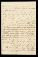 Letter from Susan M. Hale to her aunt Lucinda Dean on August 6, 1855 from Detroit, Michigan