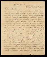 Letter from Hiram James Graham to his mother [in-law] Lucinda Dean on Sabbath Evening, February 19, 1854 from Liverpool, Illinois