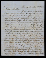 Letter from Hiram James Graham to his mother [in-law] Lucinda Dean on November 1, 1854 from Liverpool, Illinois