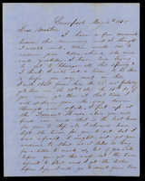 Letter from Hiram James Graham to his mother [in-law] Lucinda Dean on May 4, 1855 from Liverpool, Illinois