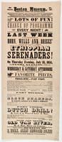 8th Season Boston Museum. No. 367 ... Lots of fun! Change of programme every night! Last week of the performances of Horn, Wells, and Briggs' popular and talented troupe of Ethiopian Serenaders! Who will introduce on Thursday evening, July 31, 1851, and e