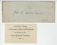 Hamilton College autograph letters and documents by members of the first Board of Trustees, 1812