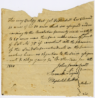 Certificate of land ownership for Jacob Fowler signed by John Johnson, Samuel Scipio, and Eliphalet Marthers, January 4, 1820