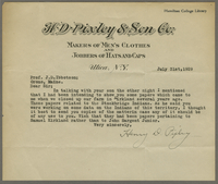 Letter from Henry D. Pixley to Joseph D. Ibbotson, July 31, 1929